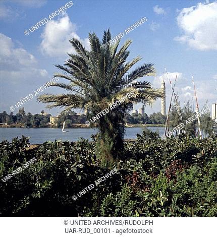 Blick auf die Südspitze der Nilinsel Gezira mit dem Fernsehturm in Kairo, Ägypten, Ende 1970er Jahre. View to the Southern tip of Nile island Gezira with Cairo...