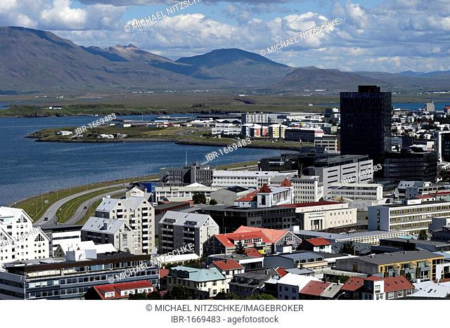 View of Reykjavik from the tower of Hallgrímskirkja church, Iceland, Europe