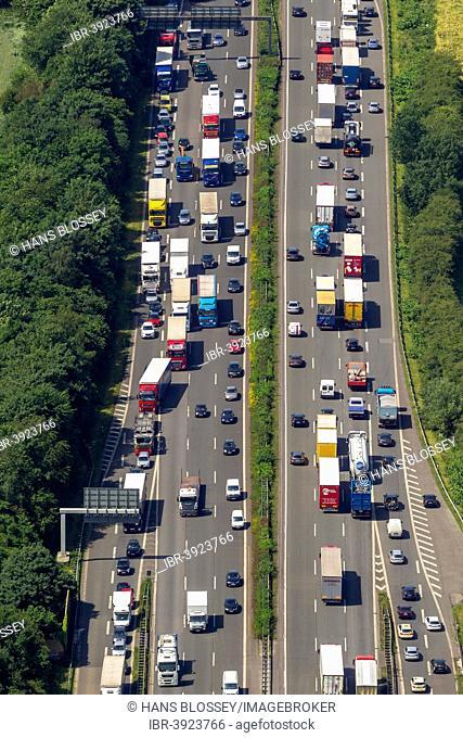 Traffic jam on the A2 motorway, aerial view, Recklinghausen, Ruhr Area, North Rhine-Westphalia, Germany