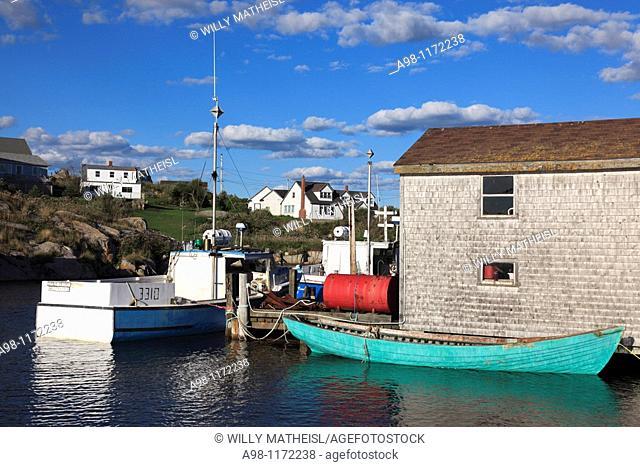 Port of historic fishing port and fishing shacks at Peggys Cove, Nova Scotia, Canada