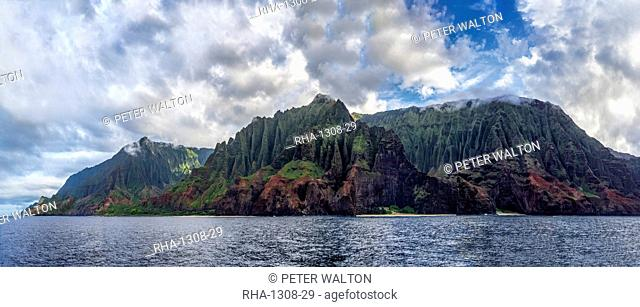 Na Pali Coast panorama from sea level on the north west of Kauai looking east, United States of America