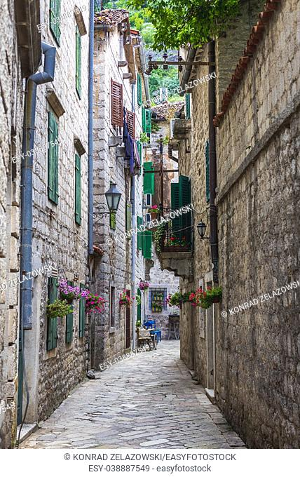 Street on the Old Town of Kotor coastal city, located in Bay of Kotor of Adriatic Sea, Montenegro
