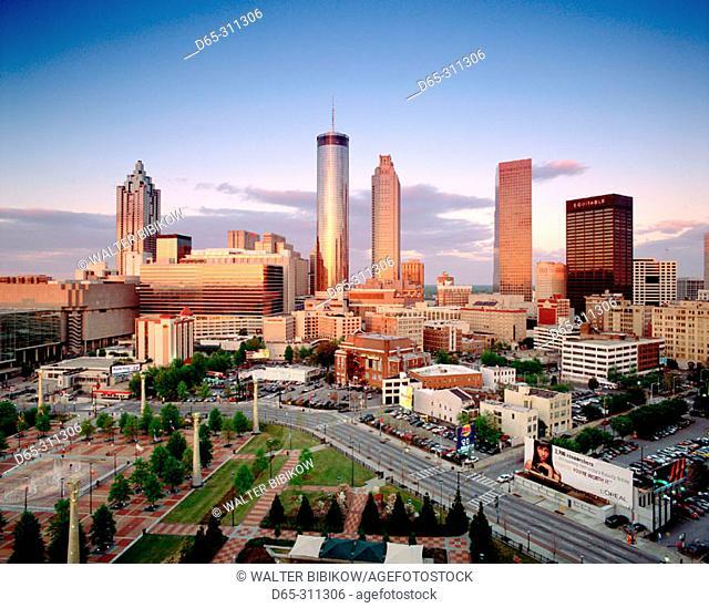 Downtown skyline at sunset from CNN center. Atlanta. Georgia, USA