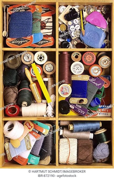 Knitting materials in a wooden box
