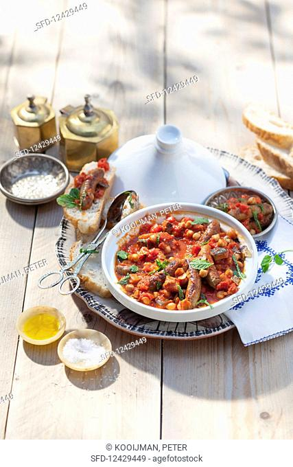 Moroccan lamb tagine with sausages