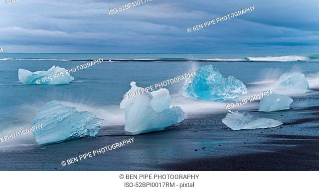 Glaciers washed up on beach