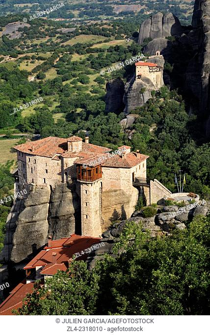 Greek orthodox monasteries of Rousanou (Saint Barbara) and Saint Nicholas of Anapafsas. Greece, Central Greece, Thessaly, Meteora monasteries complex
