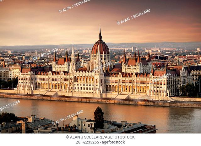 Hungarian Parliament building, Budapest in evening light. Digitally Manipulated Image. Sky imported from another image. Stylised by enhancing color
