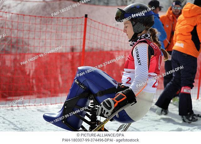 07 March 2018, South Korea, Pyeongchang: Paralympics, downhill, training, Jeongseon Alpine Centre: Anna Schaffelhuber of Germany