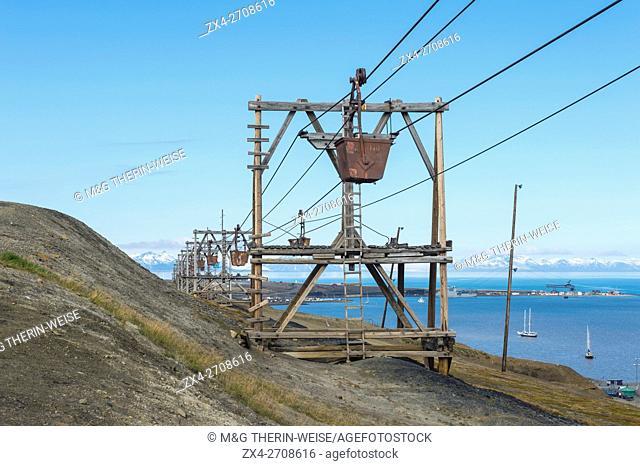 Old coal mine factory, Rusted coal trolleys in Longyearbyen, Spitsbergen Island, Svalbard Archipelago, Norway