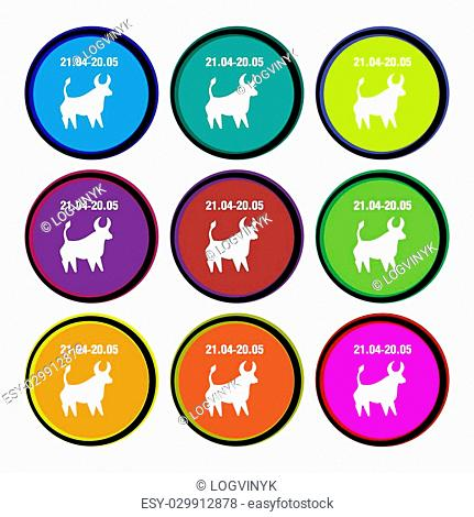 Taurus icon sign. Nine multi colored round buttons. Vector illustration