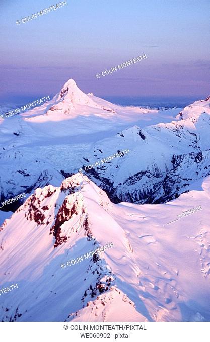 Mount Aspiring at sunset. Aerial view. Winter. Mount Aspiring National Park. New Zealand