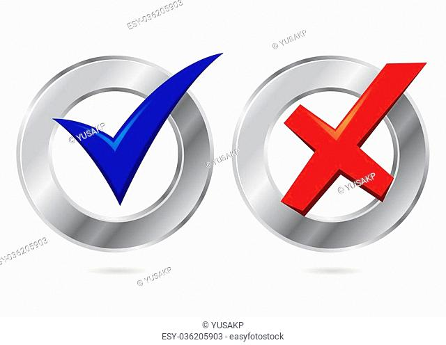 Vector stock of metallic silver check mark icon