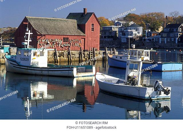 harbor, lobster boats, Rockport, MA, Massachusetts, Fishing boats docked in Rockport Harbor in Rockport in the fall