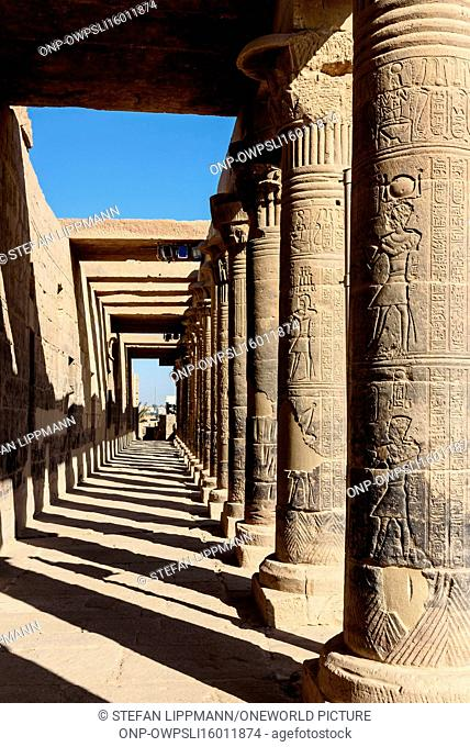 Egypt, Red Sea Gouvernement, Philae, The temple of Philae, dedicated to the goddess Hathor, is located on a Nile Island, UNESCO World Heritage Site