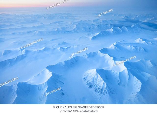 aerial view of Spitsbergen at night in winter, Svalbard