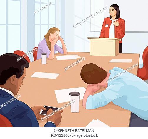 Boring speaker at business meeting