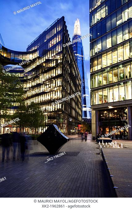 Fiona Banner sculpture, 7 More offices and Shard, London, UK