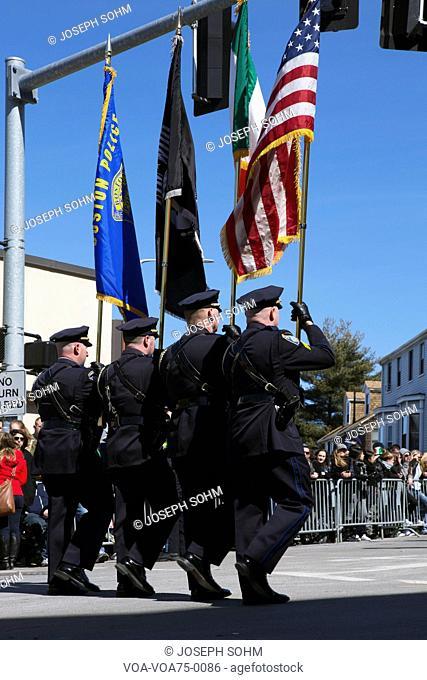 Boston Police Honor guard, St. Patrick's Day Parade, 2014, South Boston, Massachusetts, USA