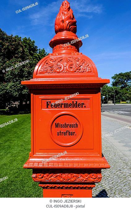 Street fire alarm at Bellevue Castle, residence of German Federal President, Berlin, Germany