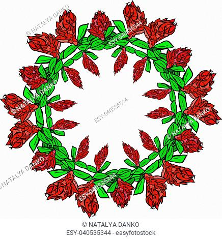round wreath of red flowers and green leaves isolated on white background, empty space in the middle