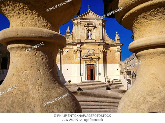 The Cathedral of Our Lady of the Assumption dominates the Citadel of capital of Gozo Victtoriosa also known as Rabat. umption Cathedral