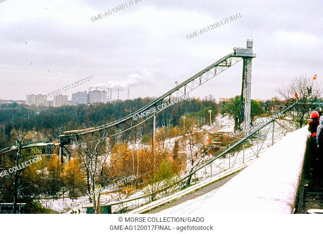 View facing east of the ski jump inside Sparrow Hills (formerly Lenin Hills) Park, situated on a steep embankment above a bend in the Moscow River, in Moscow
