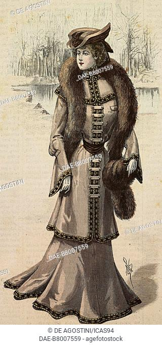 Woman wearing a walking or visiting dress, with velours inserts and mink boa, creation by Mademoiselle Louise Piret, engraving from La Mode Illustree, No 3