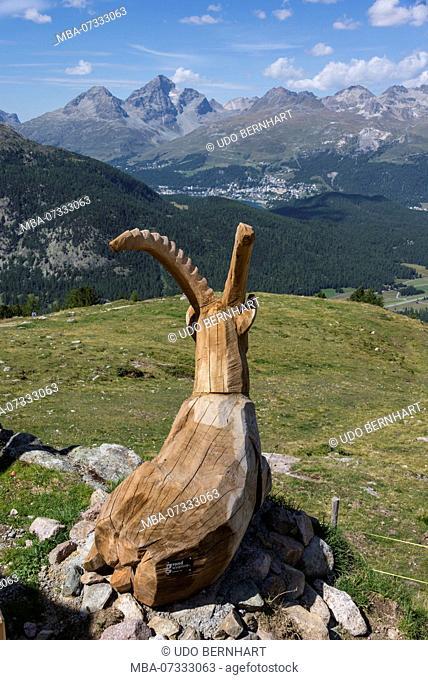 Ibex figure on Via Valtellina, Alp Languard, Pontresina, Engadin, Canton of Grisons, Switzerland