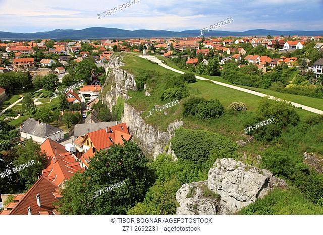 Hungary, Veszprém, Benedek Hill, aerial view,