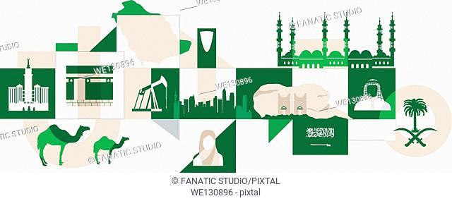 Illustrative collage of Saudi Arabia over white background