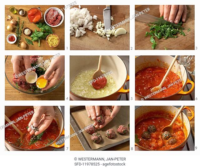 Meatballs in a spicy tomato sauce being made