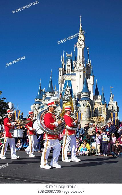 Walt Disney World Resort. Marching band during Disney Dreams Come True Parade in the Magic Kingdom