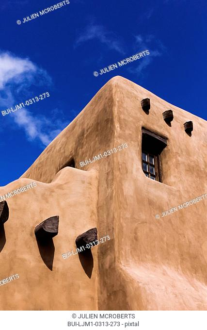 Typical adobe architecture against blue sky; Santa Fe; New Mexico; USA