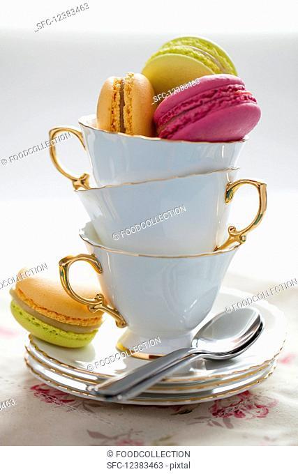Macarons in teacups