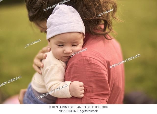 mother, baby, outdoors, in park, generations, at Neuhofener Berg, Munich, Germany