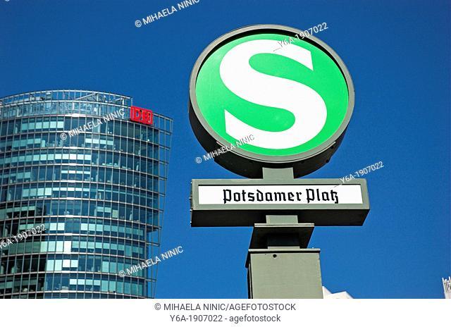 S Bahn railroad station sign Potsdamer Platz Berlin Germany