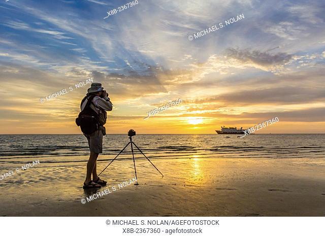 The Lindblad Expeditions ship National Geographic Sea Bird at Sand Dollar Beach, Magdalena Island, Baja California Sur, Mexico