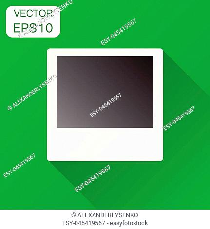 Photo frame icon. Business concept photograph pictogram. Vector illustration on green background with long shadow