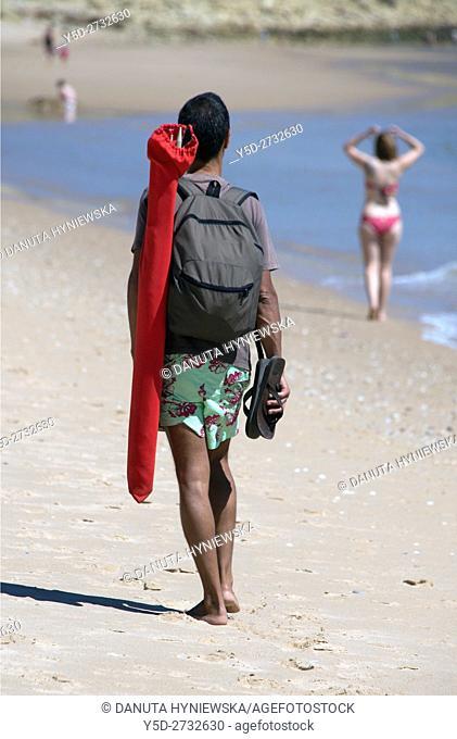 vacation on the beach, here Salema beach, Algarve, Portugal, Europe