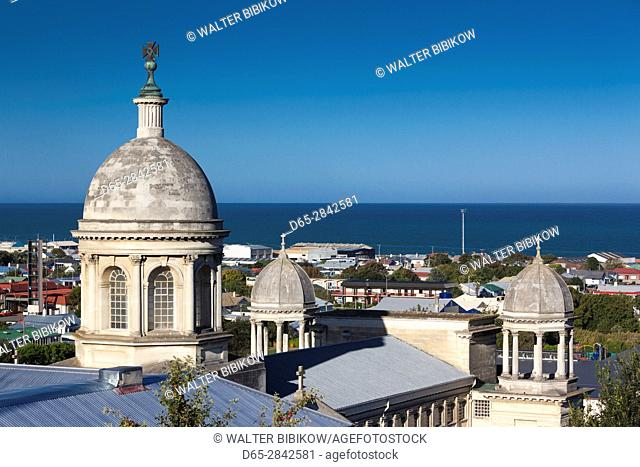 New Zealand, South Island, Otago, Oamaru, elevated view of St. Patrick's Basilica