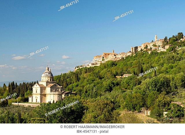 Townscape with church San Biagio, Montepulciano, Tuscany, Italy