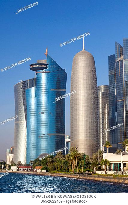 Qatar, Doha, Doha Bay, West Bay skyscrapers with World Trade Center and Burj Qatar