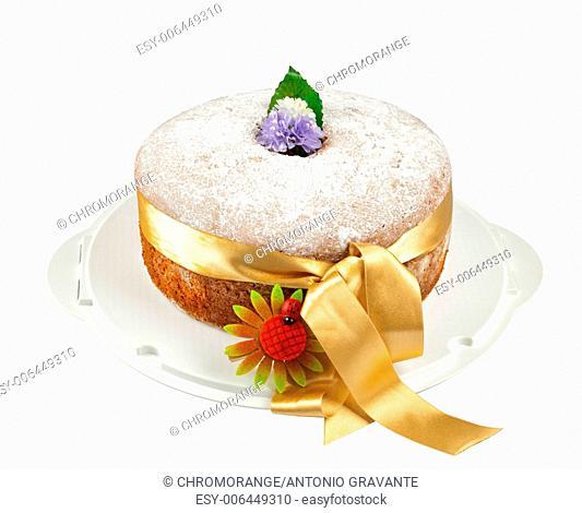 Freshly baked chiffon cake on white background