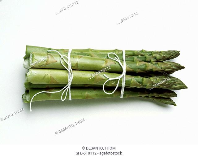 Thick Fresh Asparagus Spears Tied with Strings