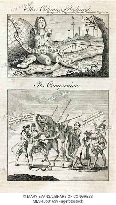 The colonies reduced - its companion. Print shows two illustrations on a single sheet, on the top, Britannia is dismembered