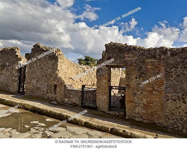 Ancient Street (Reg- I- Ins- IV) in the Roman site of Pompeii, Campania, Italy