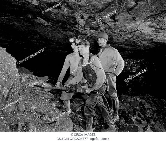 Anthracite Miners Showing Serviceman how Anthracite is Mined during Miner's Rally during War Production Drive, Pennsylvania, USA
