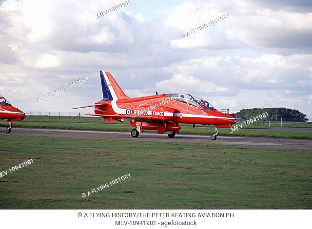 RAFAT RAF Red Arrows BAe Systems Hawks taxy out at Scampton in October 2008. Hawk XX308 has been flying with the team since 1985