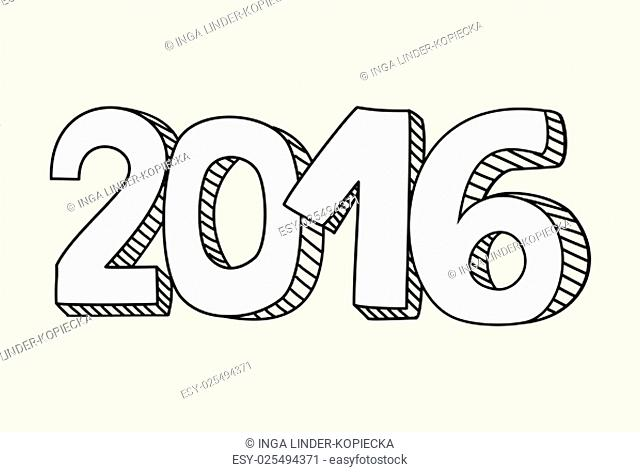 new year 2016 hand drawn vector sign a pastel background
